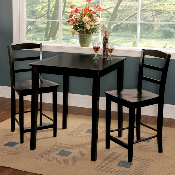 Madrid 30 Inch Black Counter Height 3 Piece Dining Set