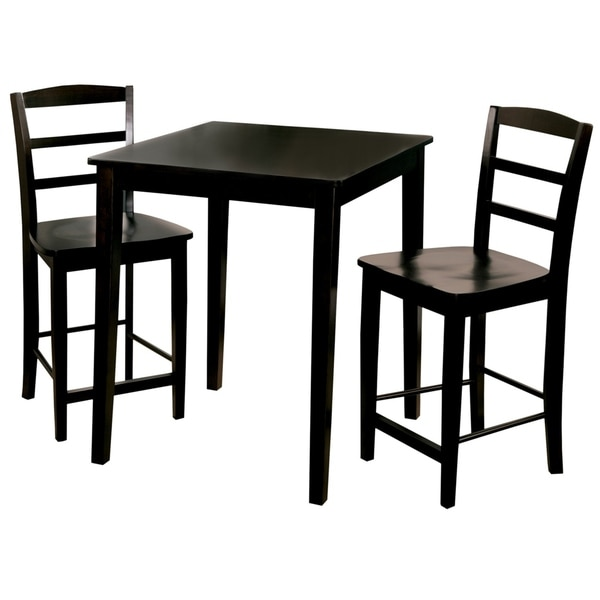 shop madrid 30 inch black counter height 3 piece dining set free shipping today overstock. Black Bedroom Furniture Sets. Home Design Ideas