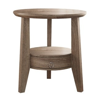 Dark Taupe Accent Table with Drawer