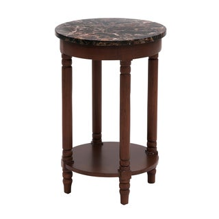 Sevilla 25-inch Marble Round Metal Accent Table with Shelf