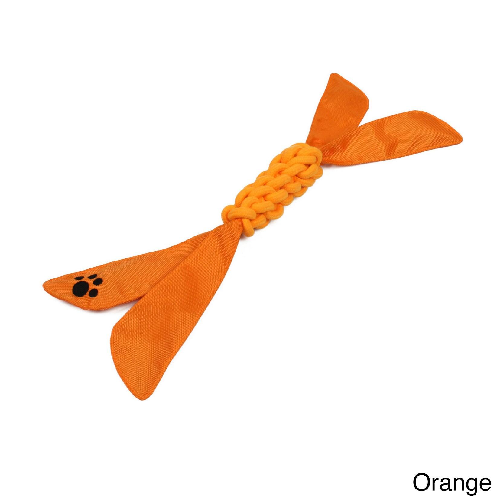 Petlife Extreme Twist' Nylon / Jute Squeak Dog Toy (Orange)