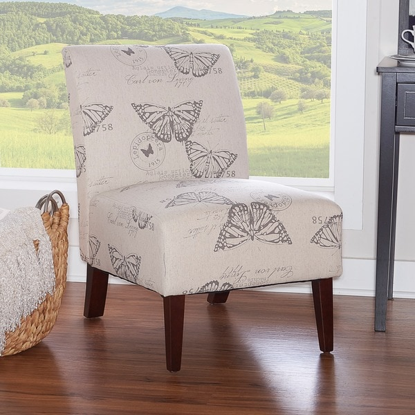 Linon Bradford Butterfly Linen Upholstered Dark Espresso Wood Accent Chair