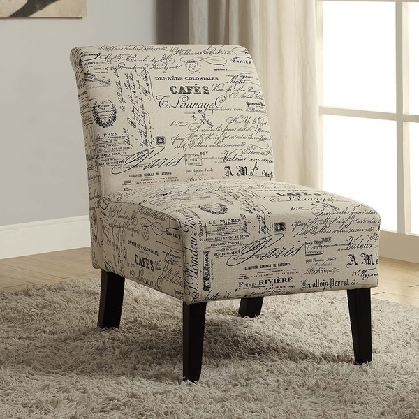 Linon Bradford Accent Chair with Written Text Print