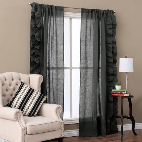 Cottage Home Linen Ruffled Curtain Panel Pair