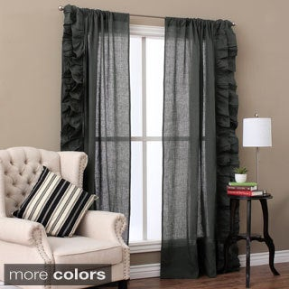 Linen Ruffled Curtain Panel Pair