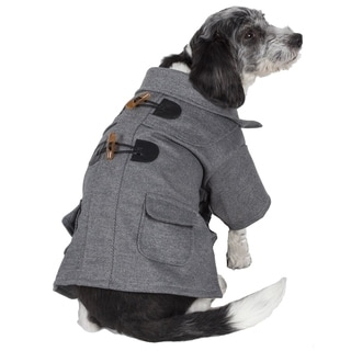 Pet Life Grey Toggle Closure Wool Pet Coat