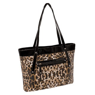 Parinda Fiona Leopard Print Quilted Carry-all Tote Bag