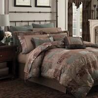 Croscill Galleria Brown Opulent Chenille Jacquard Woven 4 Piece Comforter Set
