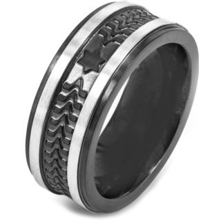 Crucible Black Plated Brushed Stainless Steel Textured Comfort Fit Ring - 9mm Wide