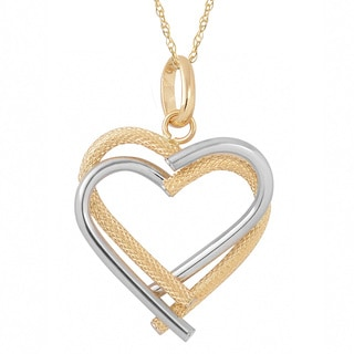 Fremada 10k Two-tone Gold Double Heart Pendant On Delicate Rope Chain (18 inch)