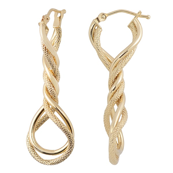 overstock earrings shop fremada 10k yellow gold twisted elongated hoop 9086