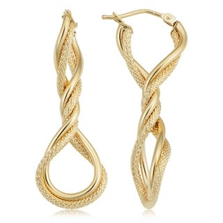 Fremada 10k Yellow Gold Twisted Elongated Hoop Earrings