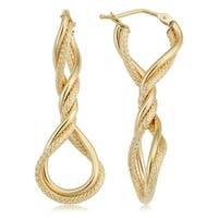 Fremada 10k Yellow Gold Twisted Elongated Hoop Earrings