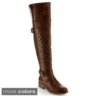 Nature Breeze Women's 'Ralph-03H' Quilted Over-the-knee Riding Boots
