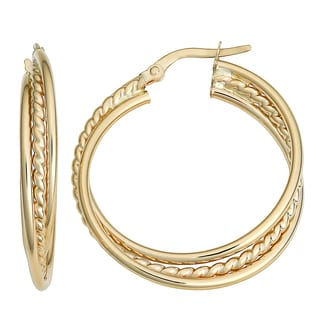 Fremada 10k Yellow Gold Overlapping Round Hoop Earrings