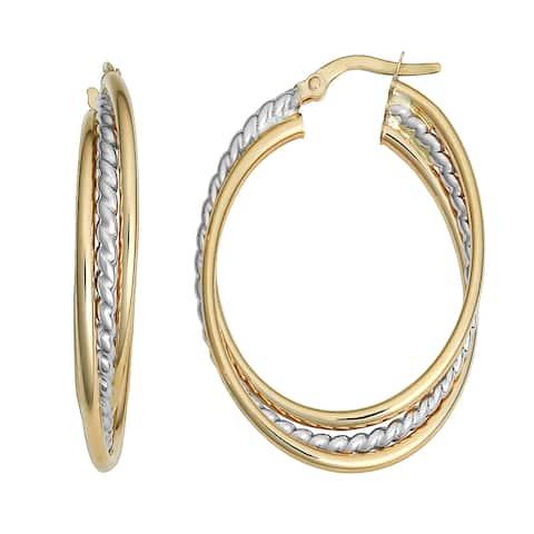 Fremada 10k Two-tone Gold Overlapping Oval Hoop Earrings