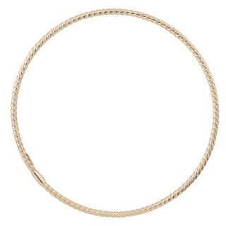 Fremada 10k Yellow White or Rose Gold 2mm Twist Design Slip-on Bangle