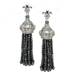 Dallas Prince Sterling Silver Hematite, London Blue Topaz and White Sapphire Earrings