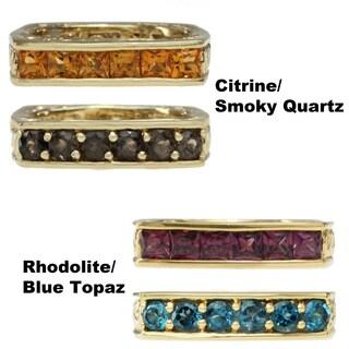 Dallas Prince Gold Over Silver Rhodolite and London Blue Topaz or Madiera Citrine and Smoky Quartz R