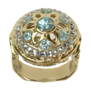 Dallas Prince Gold over Silver Blue Zircon and Marcasite Ring
