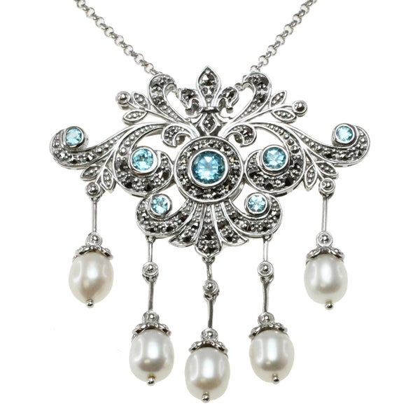 Blue Topaz And Pearl Necklace: Shop Dallas Prince Sterling Silver Swiss Blue Topaz