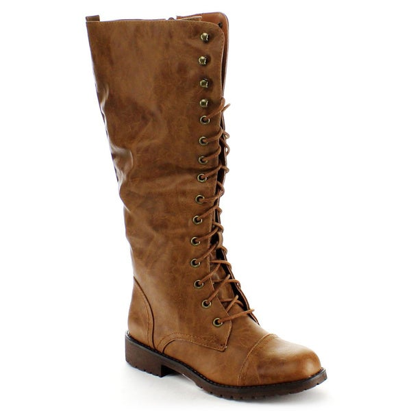 Nature Breeze Women's 'Lug-11hi' Lace-up Knee-high Military Boots