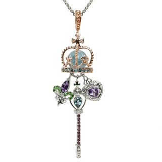 Dallas Prince Two-tone Aquamarine, Amethyst, Chrome Diopside and Rhodolite Necklace