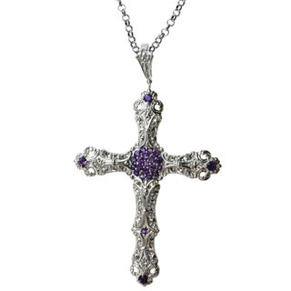 Dallas Prince Sterling Silver Amethyst and Marcasite 'Cross' Necklace