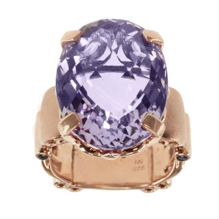 Dallas Prince Gold Over Silver Pink Amethyst and Amethyst Ring