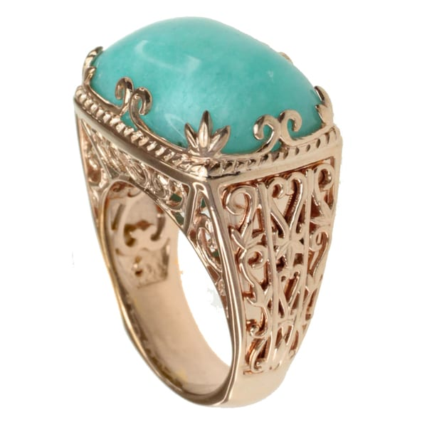 Dallas Prince Gold Over Silver Amazonite Ring