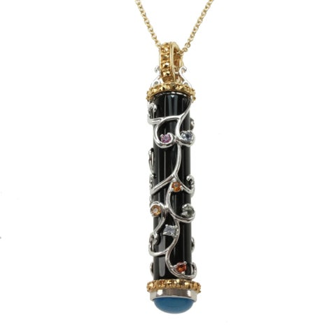 Dallas Prince Gold Over Silver Black Onyx, Marcsite, Multi-sapphire and Blue Chalcedony Necklace