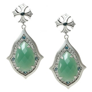 Dallas Prince Sterling Silver Aventurine, London Blue Topaz and White Topaz Earrings