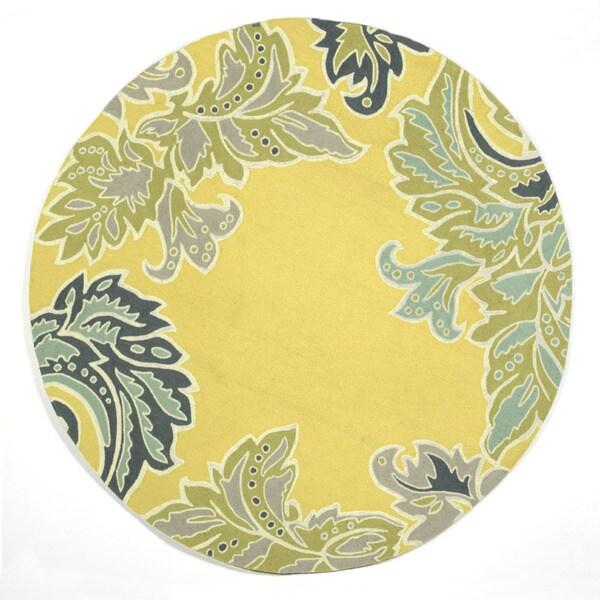 Liora Manne Decorative Border Yellow Outdoor Rug (8' Round) - 8'