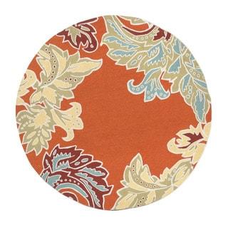Decorative Border Orange Outdoor Rug (8' Round)