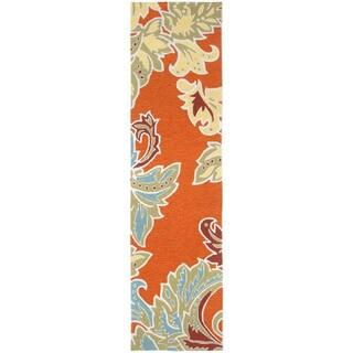 Decorative Border Orange Outdoor Rug - 2' x 8'