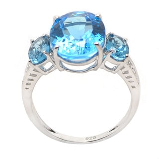 De Buman Sterling Silver Swiss Blue Topaz and Cubic Zirconia Ring (Size 5.75)