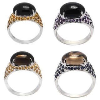 De Buman Sterling Silver Genuine Black Agate or Smoky Quartz Gemstone Ring