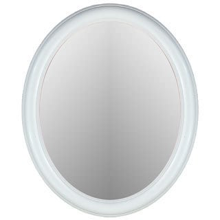 Floral Glossy White Framed Oval Wall Mirror