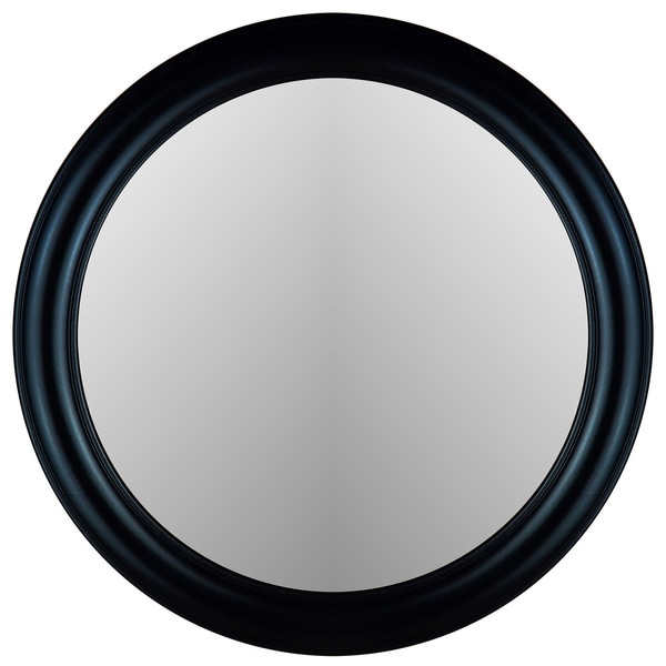 True Glossy Black Frame Round Wall Mirror