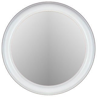 Floral Glossy White Frame Round Wall Mirror