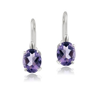 Link to Glitzy Rocks Sterling Silver Oval Cubic Zirconia Leverback Dangle Earrings Similar Items in Birthstone Jewelry