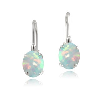 Glitzy Rocks Sterling Silver Oval Cubic Zirconia Leverback Dangle Earrings (More options available)