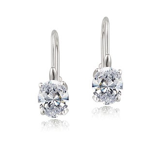 Glitzy Rocks Sterling Silver Oval Cubic Zirconia Leverback Dangle Earrings