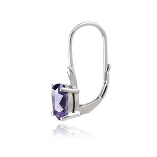 Glitzy Rocks Sterling Silver Oval Cubic Zirconia Leverback Dangle Earrings
