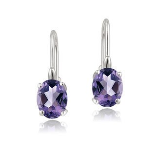Glitzy Rocks Sterling Silver Oval Cubic Zirconia Leverback Dangle Earrings (Option: February)