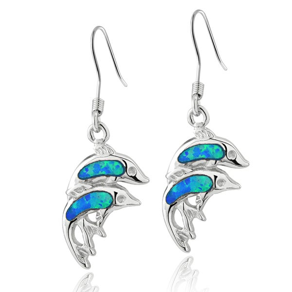 Glitzy Rocks Sterling Silver Created Blue Opal Double Dolphin Earrings