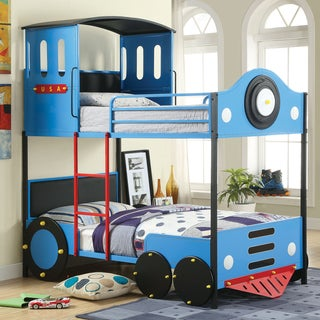 Furniture of America Blue Train Locomotive Metal Youth Bunk Bed