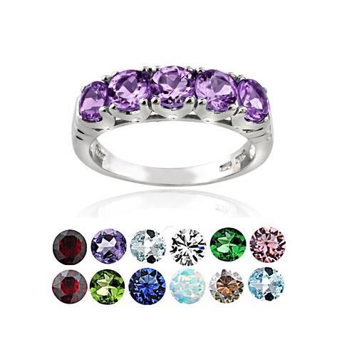 Glitzy Rocks Sterling Silver 5-stone Birthstone Ring