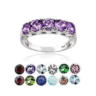Glitzy Rocks Sterling Silver 5-stone Birthstone Ring (More options available)