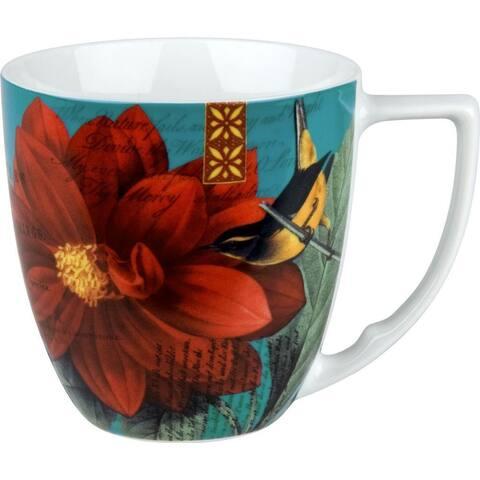 Waechtersbach Floral Impressions Red Dahlia Mugs (Set of 4)